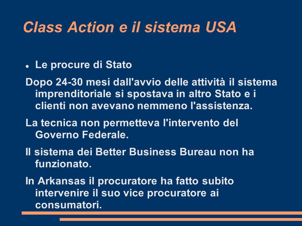 Class Action e il sistema USA Le procure di Stato Dopo 24-30 mesi dall avvio delle attività il sistema imprenditoriale si spostava in altro Stato e i clienti non avevano nemmeno l assistenza.