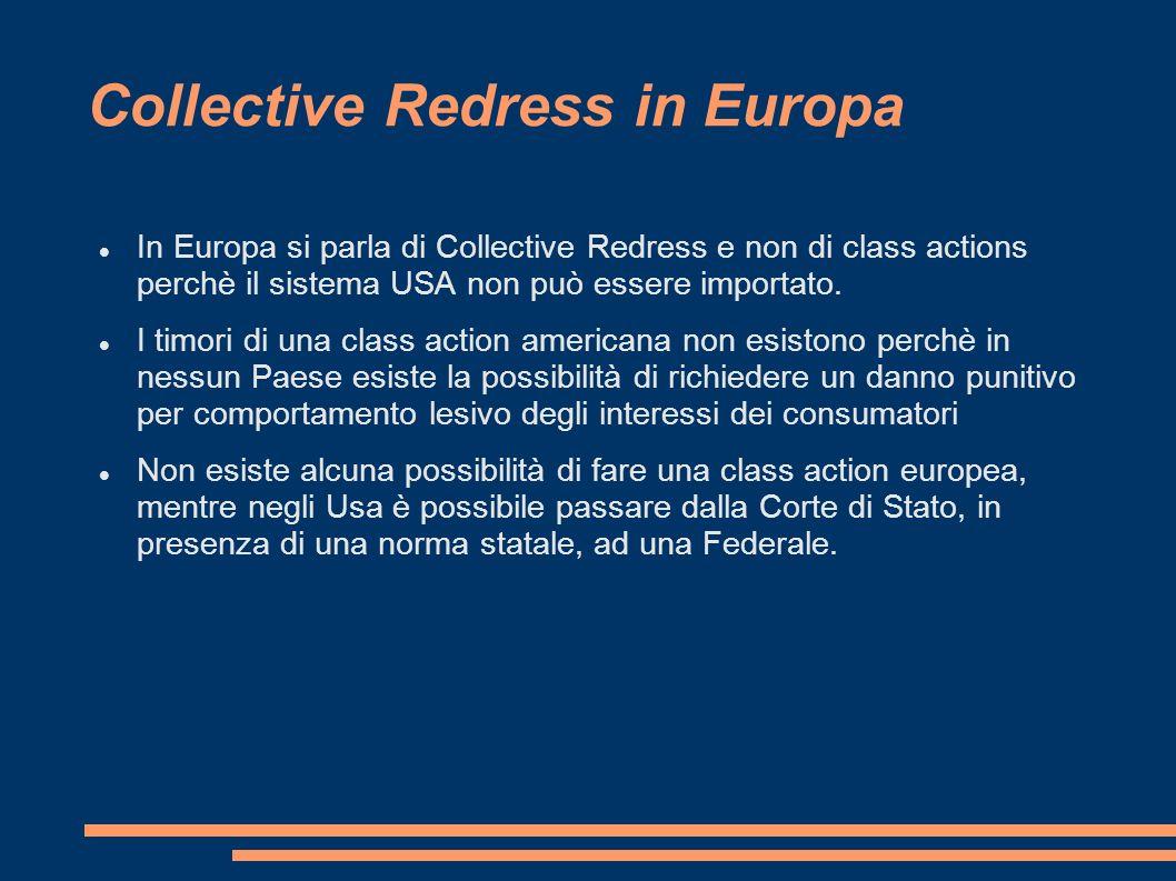 Collective Redress in Europa In Europa si parla di Collective Redress e non di class actions perchè il sistema USA non può essere importato.