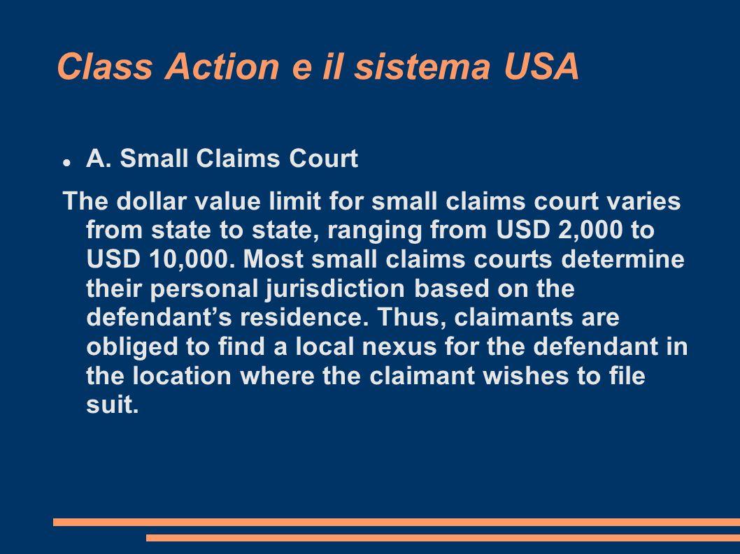 Class Action e il sistema USA A.