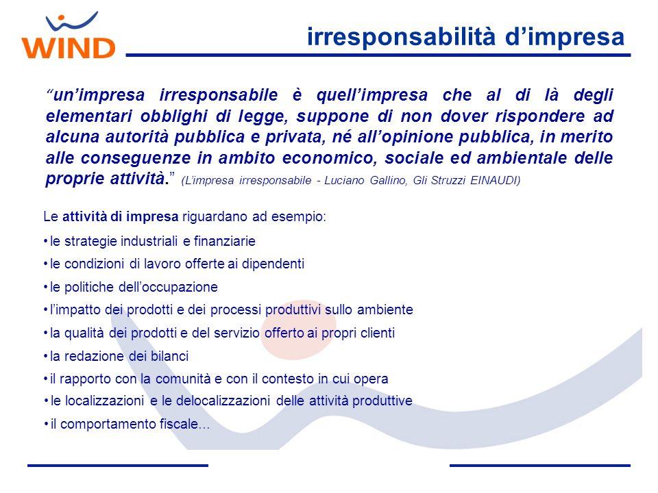 responsabilità sociale di impresa Lintegrazione su base volontaria delle preoccupazioni sociali ed ecologiche delle imprese nelle loro operazioni commerciali e nei loro rapporti con le parti interessate.