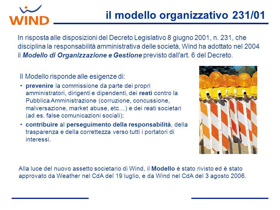 il modello organizzativo 231/01 In risposta alle disposizioni del Decreto Legislativo 8 giugno 2001, n. 231, che disciplina la responsabilità amminist