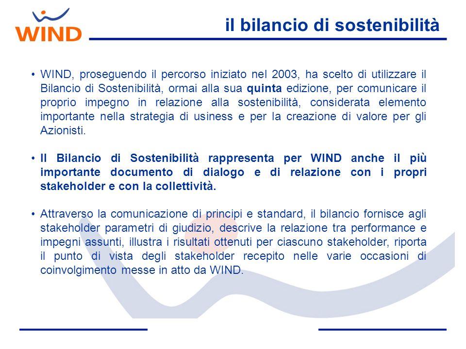 il bilancio di sostenibilità WIND, proseguendo il percorso iniziato nel 2003, ha scelto di utilizzare il Bilancio di Sostenibilità, ormai alla sua qui