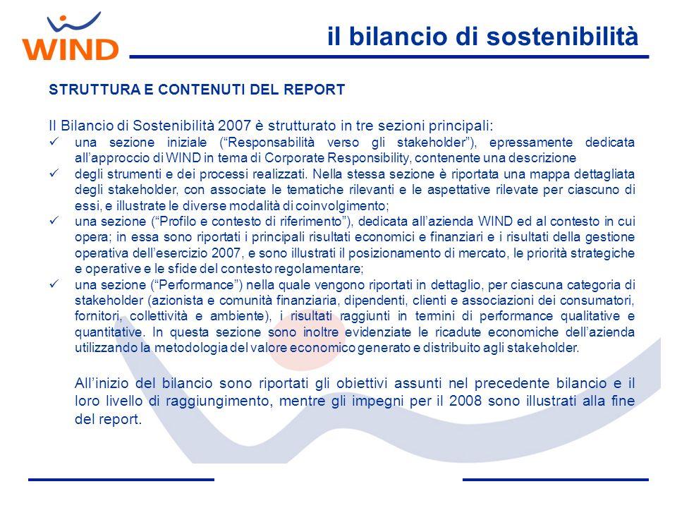 il bilancio di sostenibilità STRUTTURA E CONTENUTI DEL REPORT Il Bilancio di Sostenibilità 2007 è strutturato in tre sezioni principali: una sezione i