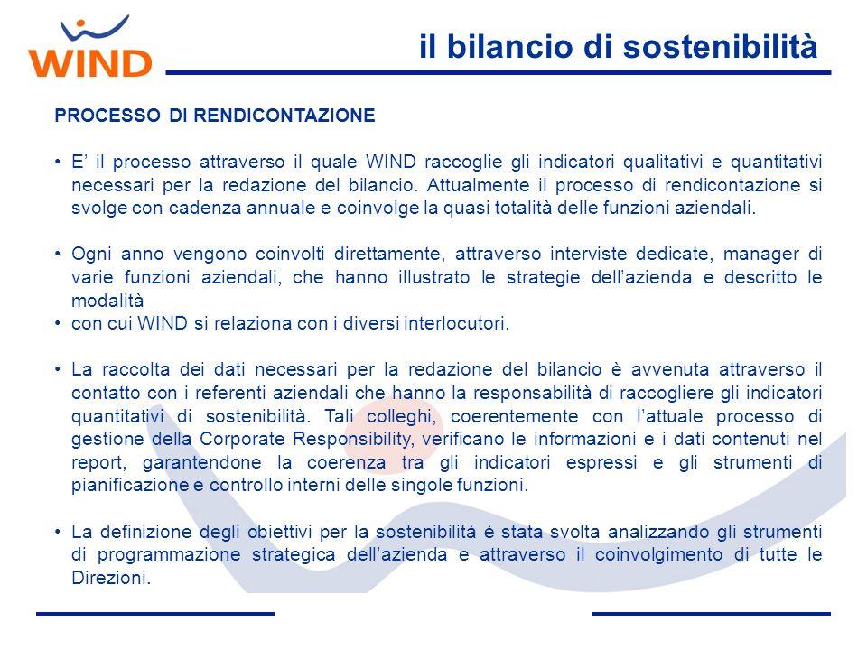 il bilancio di sostenibilità PROCESSO DI RENDICONTAZIONE E il processo attraverso il quale WIND raccoglie gli indicatori qualitativi e quantitativi ne