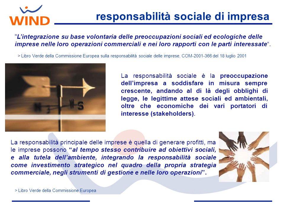 Oggi la Corporate Responsibility in WIND rappresenta un fattore in grado di influenzare potenzialmente il proprio modello di business a patto che si instauri un dialogo continuo con gli stakeholdere e si investa nel capitale umano.