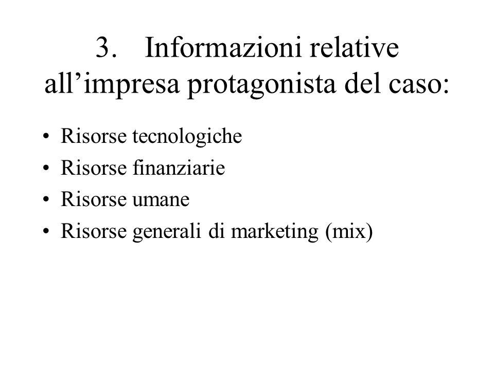 3.Informazioni relative allimpresa protagonista del caso: Risorse tecnologiche Risorse finanziarie Risorse umane Risorse generali di marketing (mix)