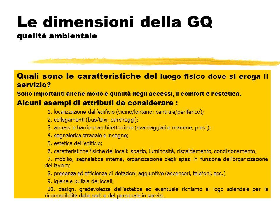 Le dimensioni della GQ qualità relazionale Come viene fornito il prodotto o servizio? Gli aspetti della comunicazione e della relazione sociale con il