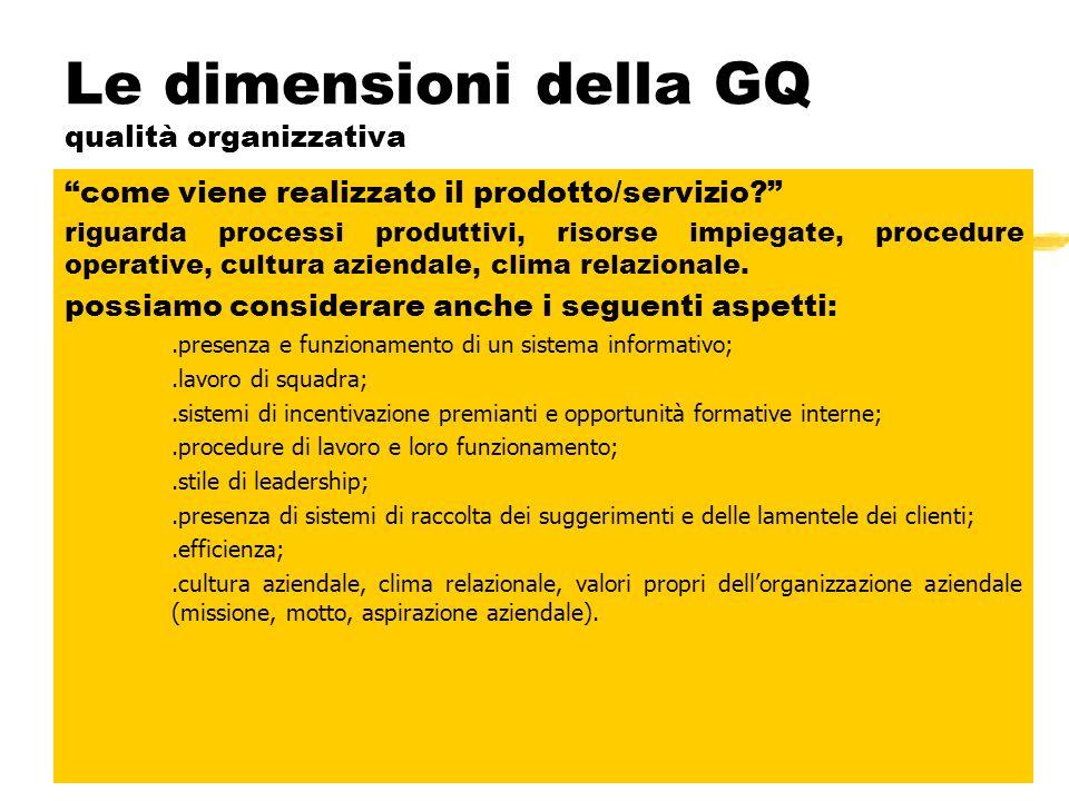 Le dimensioni della GQ qualità ambientale Quali sono le caratteristiche del luogo fisico dove si eroga il servizio? Sono importanti anche modo e quali