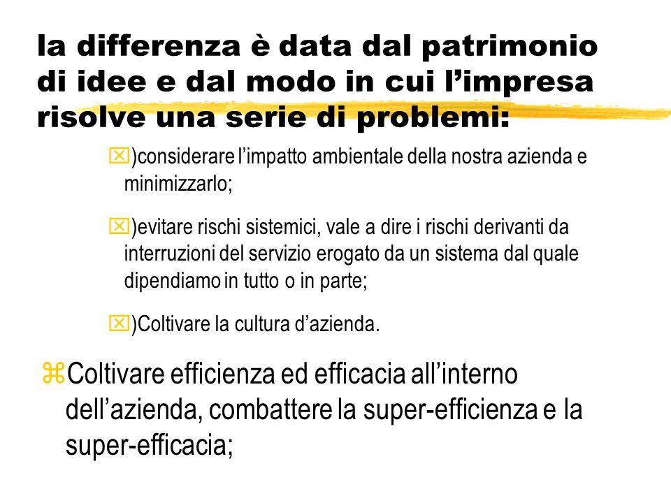 la differenza è data dal patrimonio di idee e dal modo in cui limpresa risolve una serie di problemi: x)ottimizzazione dei prodotti e servizi godendo