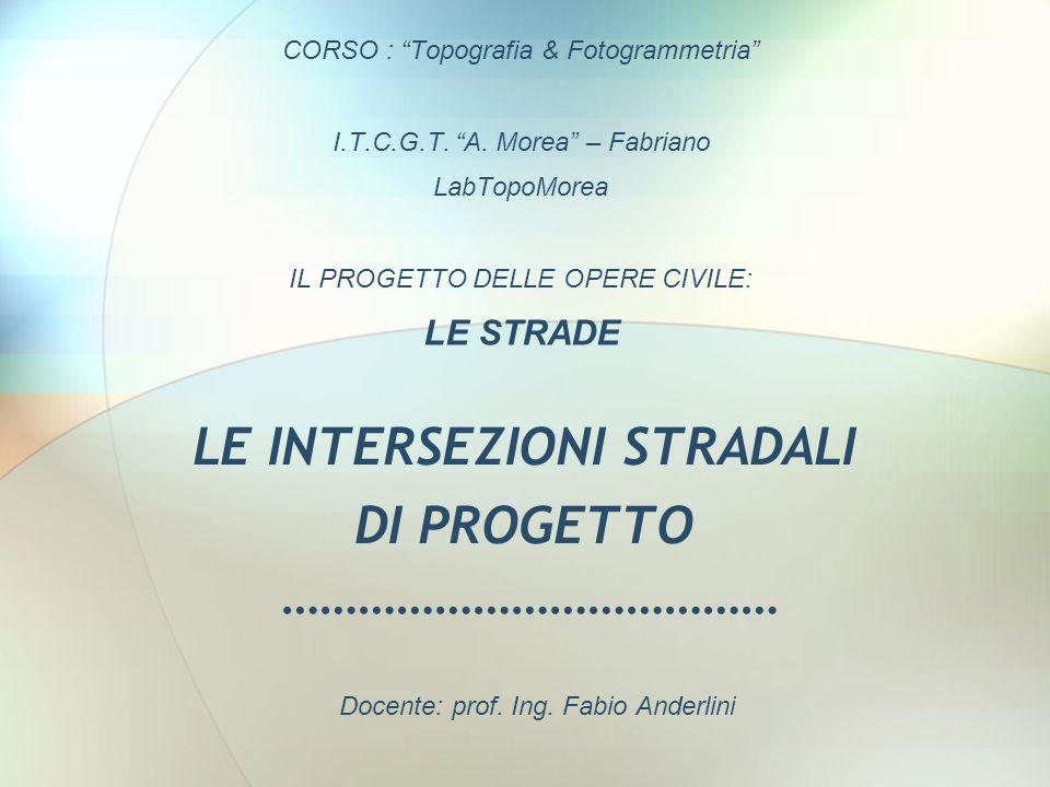 LE INTERSEZIONI STRADALI DI PROGETTO ………………………………… CORSO : Topografia & Fotogrammetria I.T.C.G.T. A. Morea – Fabriano LabTopoMorea IL PROGETTO DELLE O