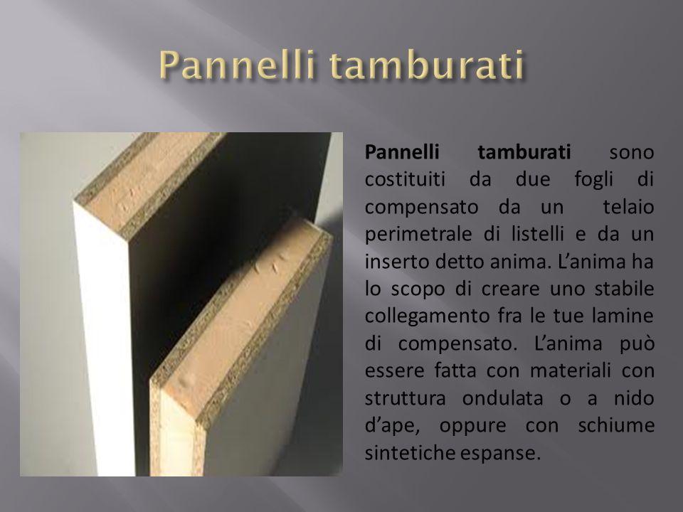 Pannelli tamburati sono costituiti da due fogli di compensato da un telaio perimetrale di listelli e da un inserto detto anima. Lanima ha lo scopo di
