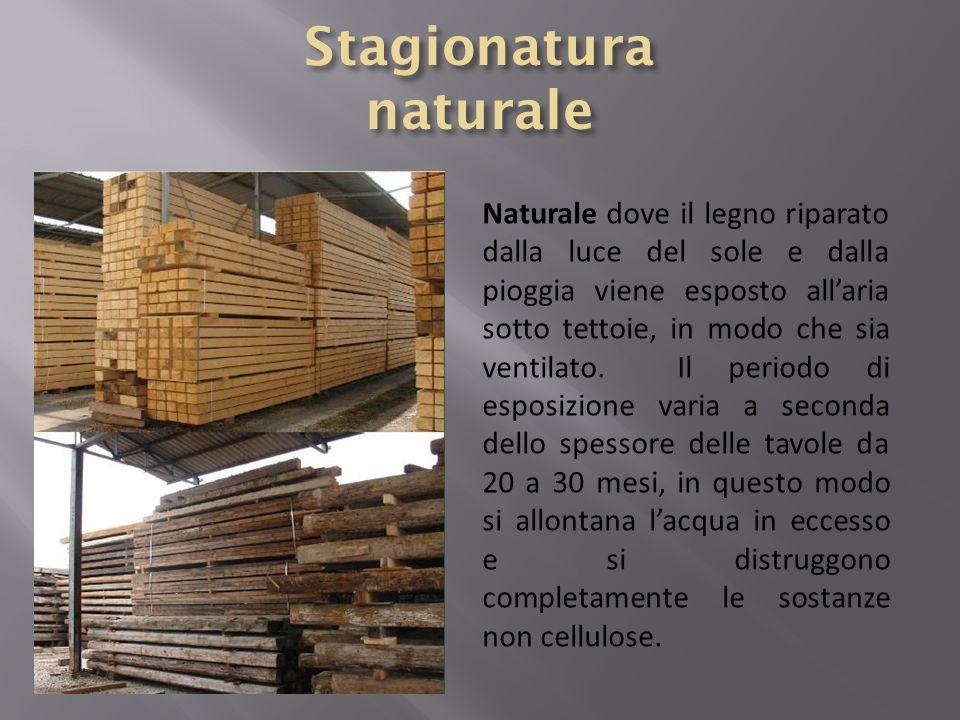 Naturale dove il legno riparato dalla luce del sole e dalla pioggia viene esposto allaria sotto tettoie, in modo che sia ventilato. Il periodo di espo