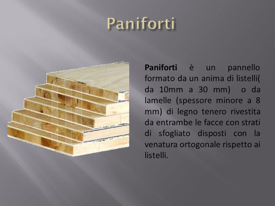 Paniforti è un pannello formato da un anima di listelli( da 10mm a 30 mm) o da lamelle (spessore minore a 8 mm) di legno tenero rivestita da entrambe