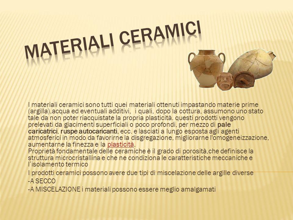 I materiali ceramici sono tutti quei materiali ottenuti impastando materie prime (argilla),acqua ed eventuali additivi, i quali, dopo la cottura, assumono uno stato tale da non poter riacquistate la propria plasticità.