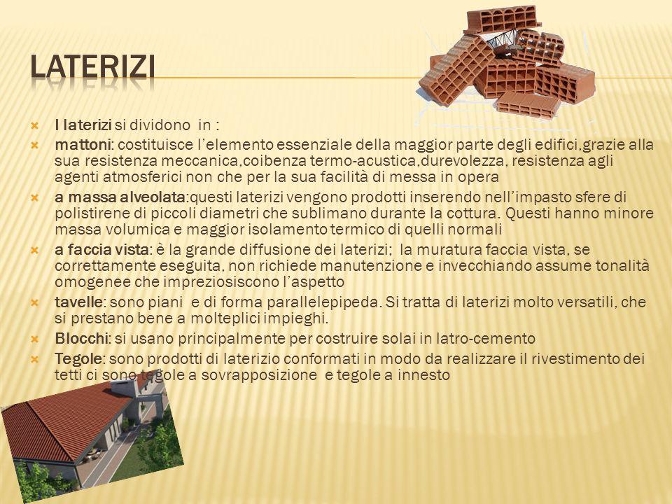 I laterizi si dividono in : mattoni: costituisce lelemento essenziale della maggior parte degli edifici,grazie alla sua resistenza meccanica,coibenza