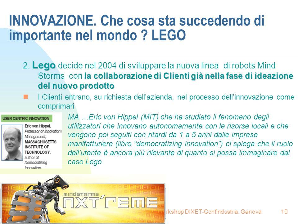 16.6.2008Renzo Provedel, Fareimpresa per workshop DIXET-Confindustria, Genova10 INNOVAZIONE. Che cosa sta succedendo di importante nel mondo ? LEGO Le