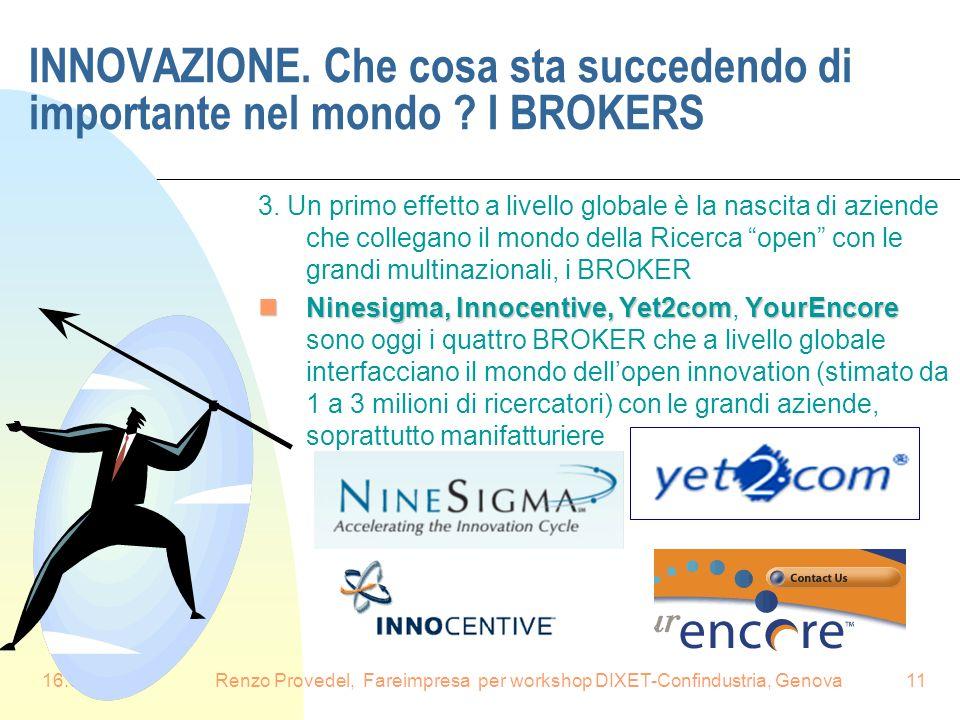 16.6.2008Renzo Provedel, Fareimpresa per workshop DIXET-Confindustria, Genova11 INNOVAZIONE. Che cosa sta succedendo di importante nel mondo ? I BROKE