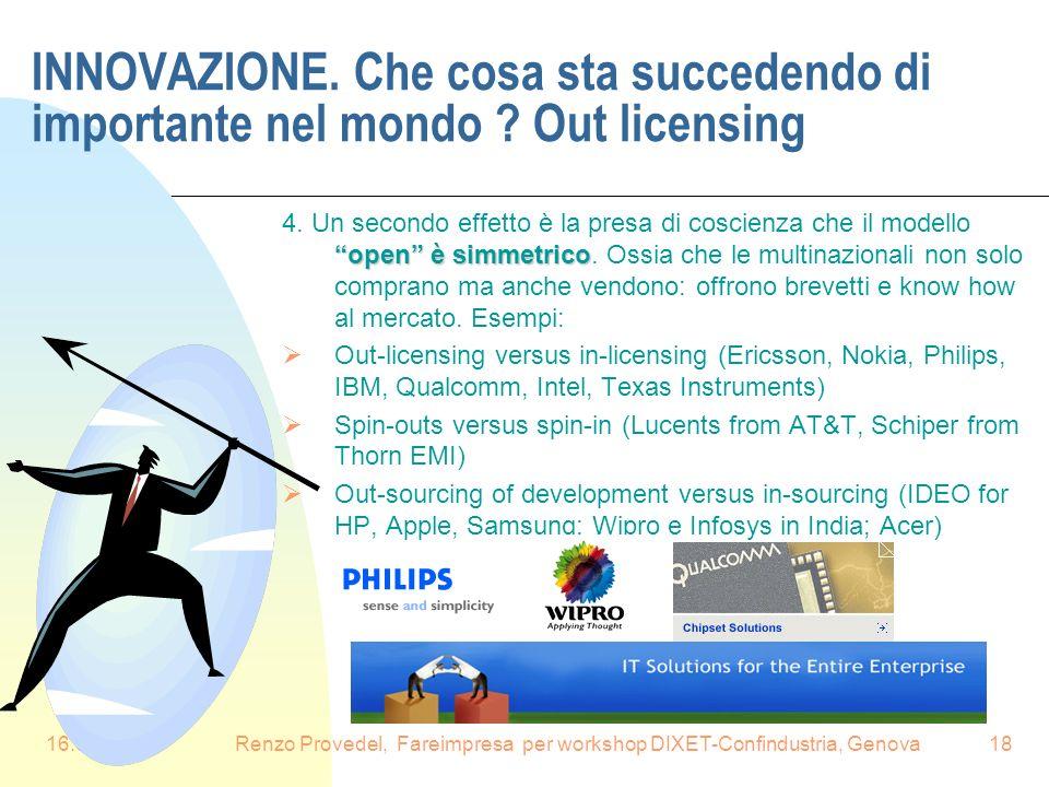 16.6.2008Renzo Provedel, Fareimpresa per workshop DIXET-Confindustria, Genova18 INNOVAZIONE. Che cosa sta succedendo di importante nel mondo ? Out lic