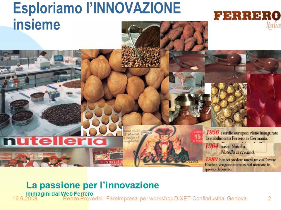 16.6.2008Renzo Provedel, Fareimpresa per workshop DIXET-Confindustria, Genova2 Esploriamo lINNOVAZIONE insieme La passione per linnovazione Immagini d