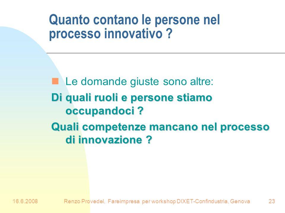 16.6.2008Renzo Provedel, Fareimpresa per workshop DIXET-Confindustria, Genova23 Quanto contano le persone nel processo innovativo ? nLe domande giuste