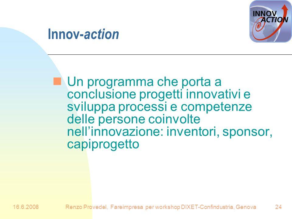 16.6.2008Renzo Provedel, Fareimpresa per workshop DIXET-Confindustria, Genova24 Innov- action nUn programma che porta a conclusione progetti innovativ