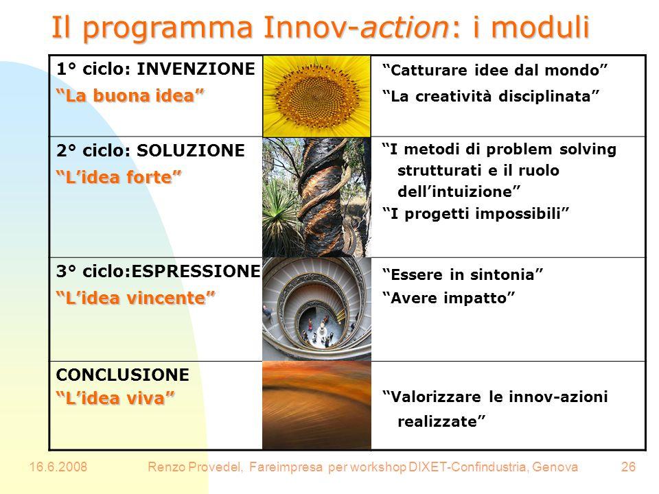 16.6.2008Renzo Provedel, Fareimpresa per workshop DIXET-Confindustria, Genova26 Il programma Innov-action: i moduli 1° ciclo: INVENZIONE La buona idea