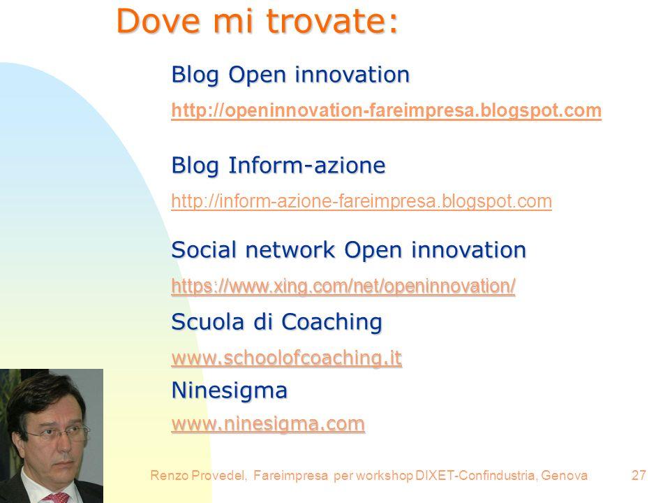 16.6.2008Renzo Provedel, Fareimpresa per workshop DIXET-Confindustria, Genova27 Dove mi trovate: Blog Open innovation Blog Inform-azione Social networ
