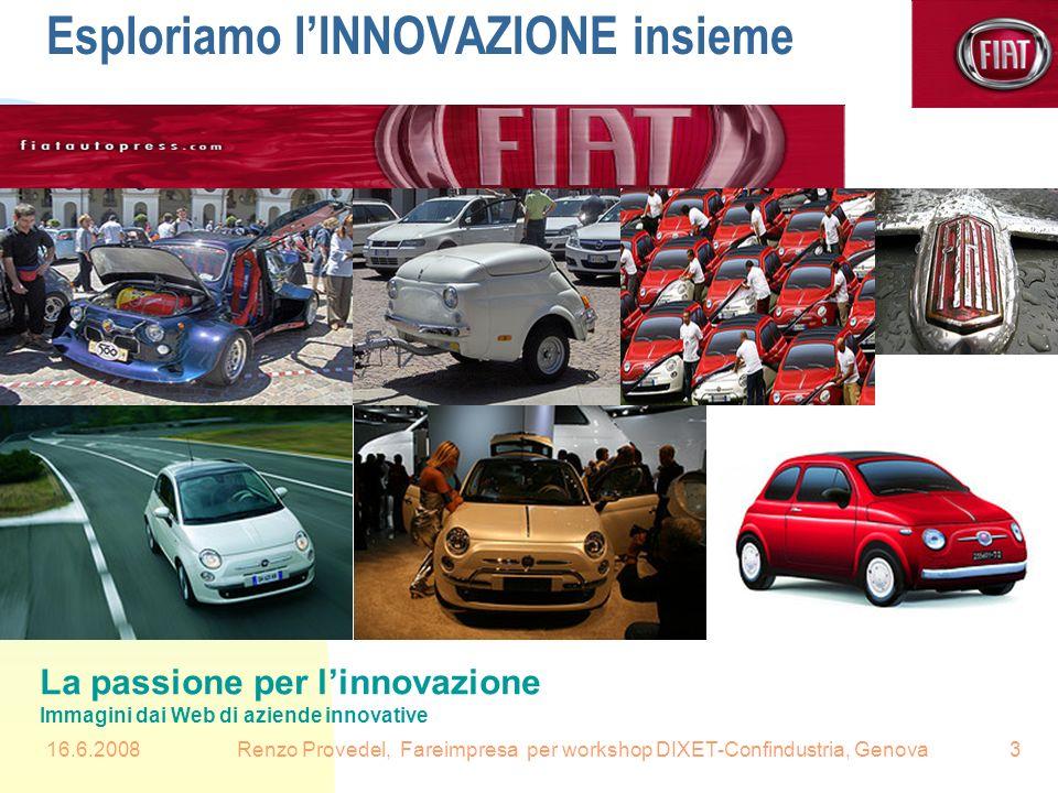 16.6.2008Renzo Provedel, Fareimpresa per workshop DIXET-Confindustria, Genova3 Esploriamo lINNOVAZIONE insieme La passione per linnovazione Immagini d