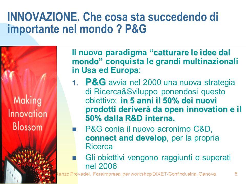 16.6.2008Renzo Provedel, Fareimpresa per workshop DIXET-Confindustria, Genova5 INNOVAZIONE. Che cosa sta succedendo di importante nel mondo ? P&G catt