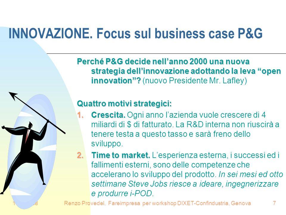 16.6.2008Renzo Provedel, Fareimpresa per workshop DIXET-Confindustria, Genova7 INNOVAZIONE. Focus sul business case P&G Perché P&G decide nellanno 200