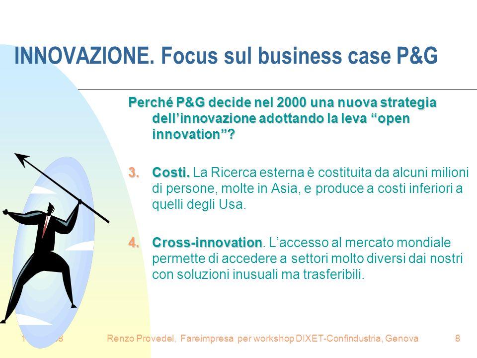 16.6.2008Renzo Provedel, Fareimpresa per workshop DIXET-Confindustria, Genova8 INNOVAZIONE. Focus sul business case P&G Perché P&G decide nel 2000 una