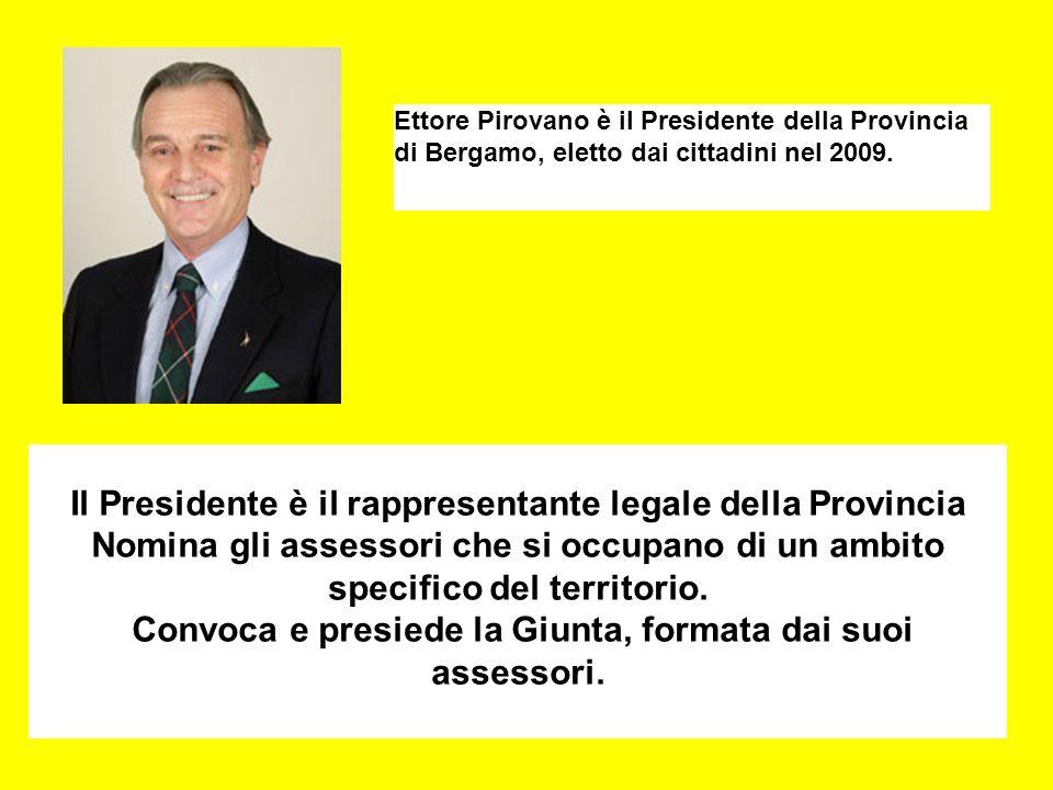 Il Presidente è il rappresentante legale della Provincia Nomina gli assessori che si occupano di un ambito specifico del territorio.