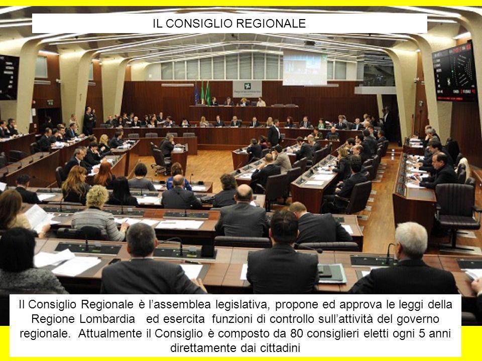IL CONSIGLIO REGIONALE Il Consiglio Regionale è lassemblea legislativa, propone ed approva le leggi della Regione Lombardia ed esercita funzioni di controllo sullattività del governo regionale.