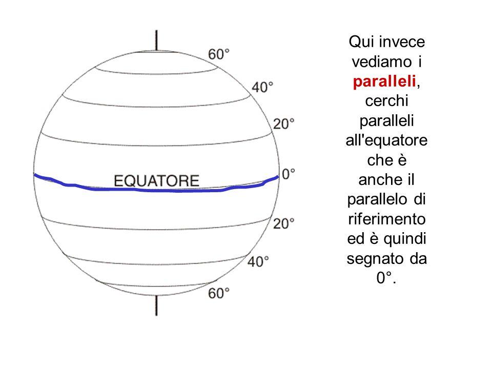 Qui invece vediamo i paralleli, cerchi paralleli all'equatore che è anche il parallelo di riferimento ed è quindi segnato da 0°.