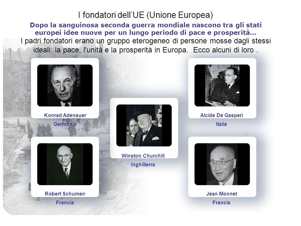 I fondatori dellUE (Unione Europea) Dopo la sanguinosa seconda guerra mondiale nascono tra gli stati europei idee nuove per un lungo periodo di pace e prosperità… I padri fondatori erano un gruppo eterogeneo di persone mosse dagli stessi ideali: la pace, l unità e la prosperità in Europa.