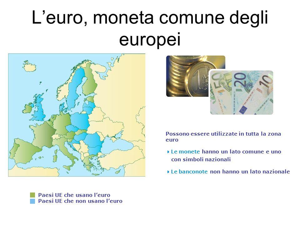 Leuro, moneta comune degli europei Paesi UE che usano leuro Paesi UE che non usano leuro Possono essere utilizzate in tutta la zona euro Le monete hanno un lato comune e uno con simboli nazionali Le banconote non hanno un lato nazionale