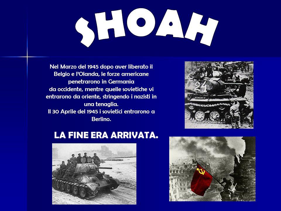 Nel Marzo del 1945 dopo aver liberato il Belgio e lOlanda, le forze americane penetrarono in Germania da occidente, mentre quelle sovietiche vi entrarono da oriente, stringendo i nazisti in una tenaglia.