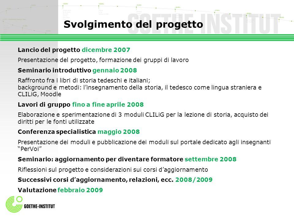 Svolgimento del progetto Lancio del progetto dicembre 2007 Presentazione del progetto, formazione dei gruppi di lavoro Seminario introduttivo gennaio