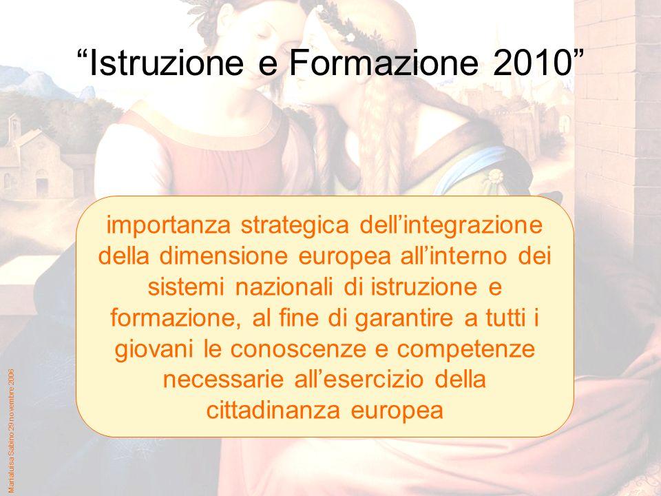 Marialuisa Sabino 29 novembre 2006 Istruzione e Formazione 2010 importanza strategica dellintegrazione della dimensione europea allinterno dei sistemi nazionali di istruzione e formazione, al fine di garantire a tutti i giovani le conoscenze e competenze necessarie allesercizio della cittadinanza europea