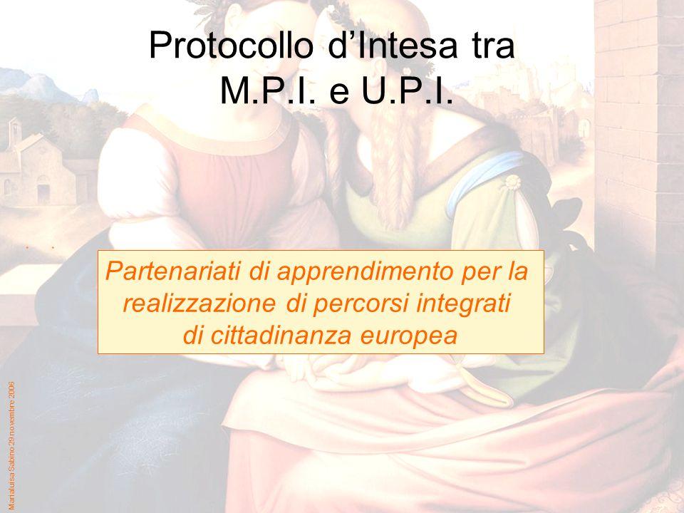 Marialuisa Sabino 29 novembre 2006 Protocollo dIntesa tra M.P.I. e U.P.I. Partenariati di apprendimento per la realizzazione di percorsi integrati di