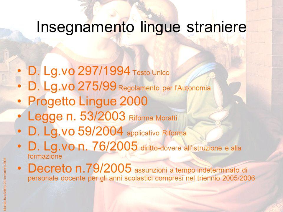 Marialuisa Sabino 29 novembre 2006 Insegnamento lingue straniere D.