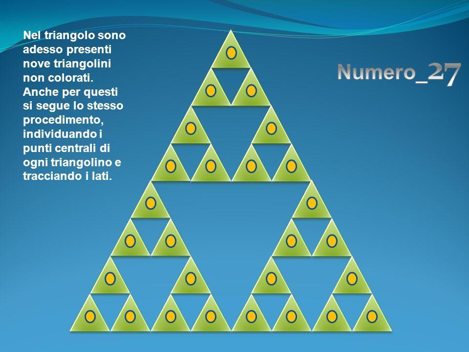 Nel triangolo sono adesso presenti nove triangolini non colorati. Anche per questi si segue lo stesso procedimento, individuando i punti centrali di o
