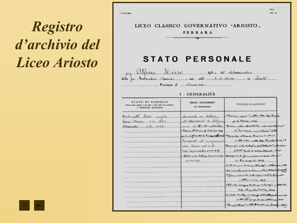 1954...1957 Nereo Alfieri al Liceo Ariosto