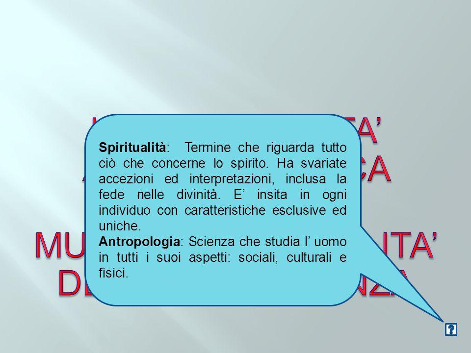 Spiritualità: Termine che riguarda tutto ciò che concerne lo spirito. Ha svariate accezioni ed interpretazioni, inclusa la fede nelle divinità. E insi