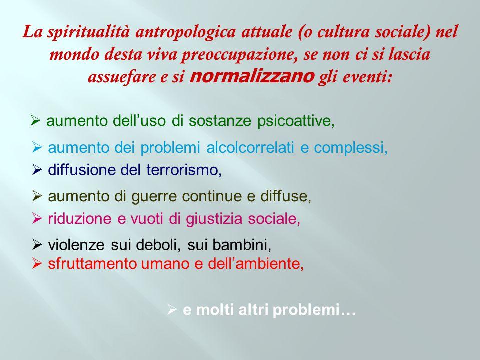 La spiritualità antropologica attuale (o cultura sociale) nel mondo desta viva preoccupazione, se non ci si lascia assuefare e si normalizzano gli eve