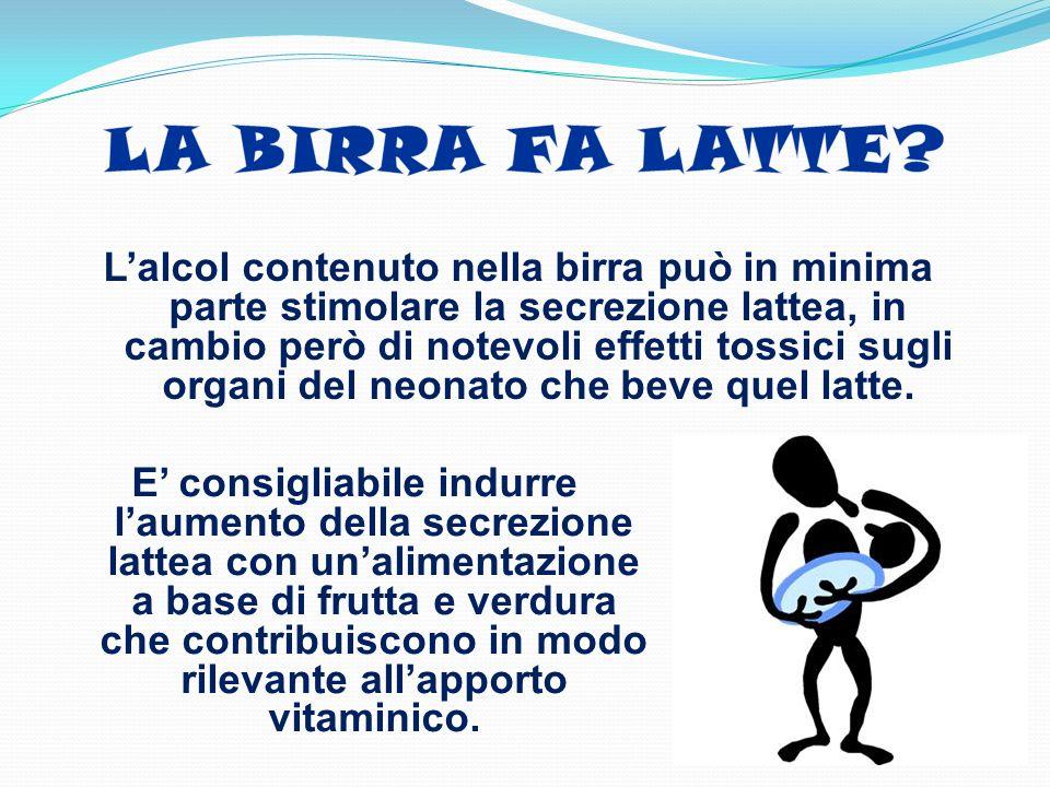 Lalcol contenuto nella birra può in minima parte stimolare la secrezione lattea, in cambio però di notevoli effetti tossici sugli organi del neonato c