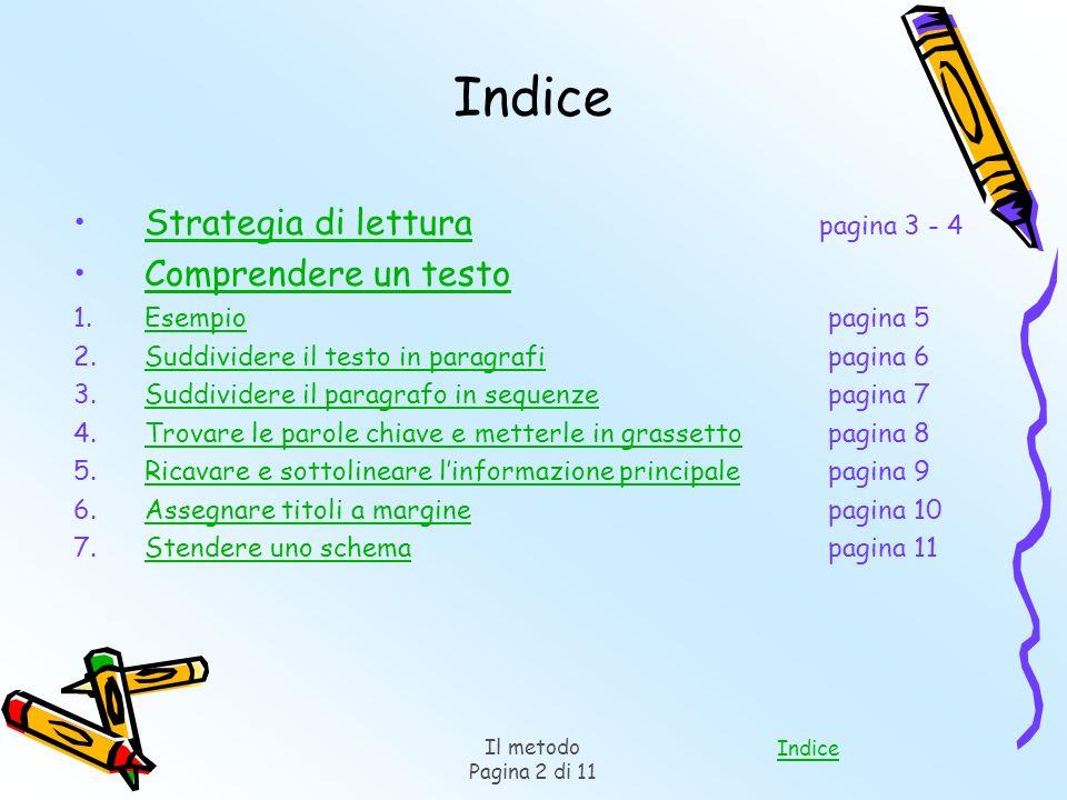 Indice Il metodo Pagina 2 di 11 Indice Strategia di lettura pagina 3 - 4Strategia di lettura Comprendere un testo 1.Esempio pagina 5Esempio 2.Suddivid