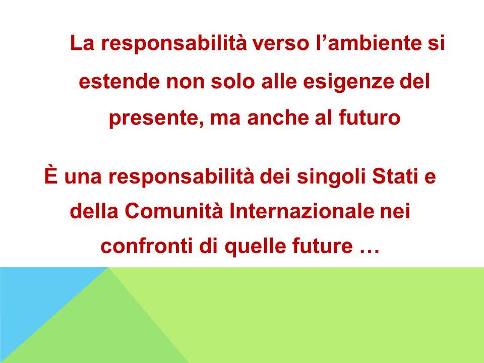 La responsabilità verso lambiente si estende non solo alle esigenze del presente, ma anche al futuro È una responsabilità dei singoli Stati e della Co