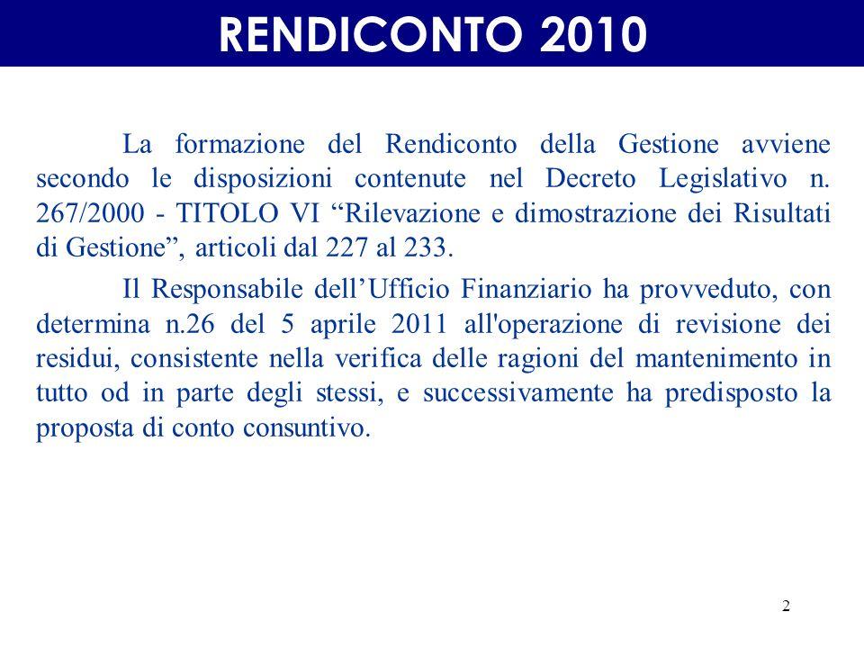2 La formazione del Rendiconto della Gestione avviene secondo le disposizioni contenute nel Decreto Legislativo n.