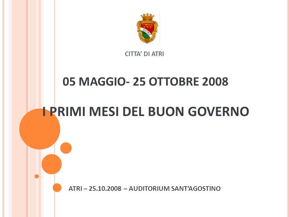 CITTA DI ATRI 05 MAGGIO- 25 OTTOBRE 2008 I PRIMI MESI DEL BUON GOVERNO ATRI – 25.10.2008 – AUDITORIUM SANTAGOSTINO